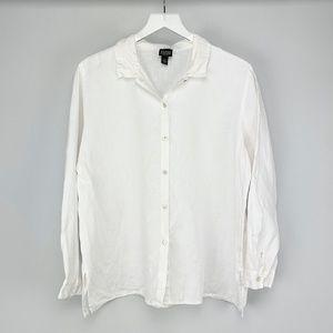 EILEEN FISHER 100% Linen Button Front Shirt PL